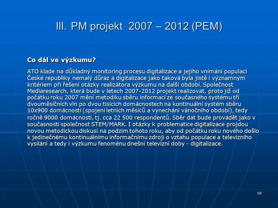 18 III. PM projekt 2007 – 2012 (PEM) Co dál ve výzkumu.