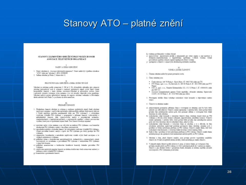 28 Stanovy ATO – platné znění