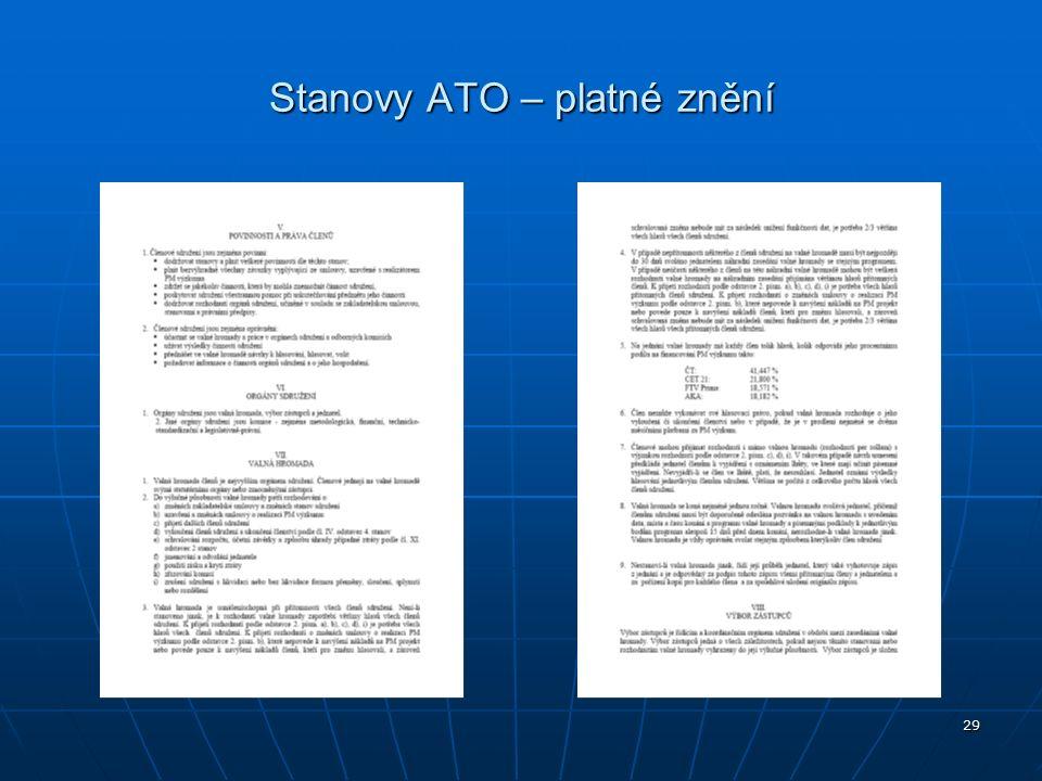 29 Stanovy ATO – platné znění