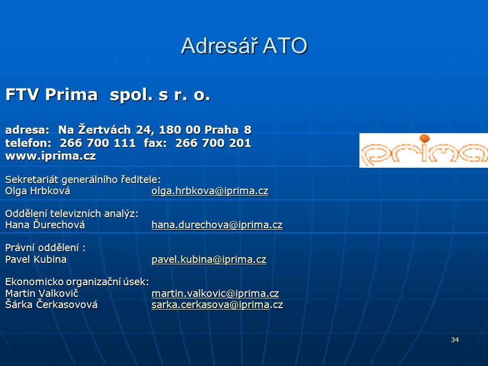 34 Adresář ATO FTV Prima spol. s r. o.