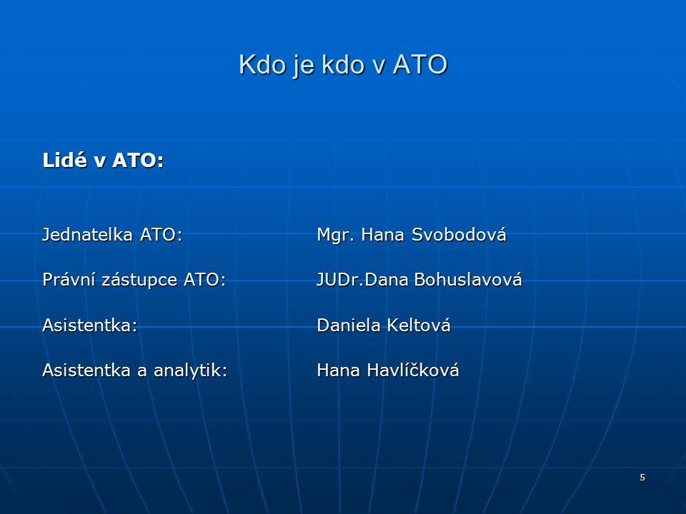 5 Kdo je kdo v ATO Lidé v ATO: Jednatelka ATO:Mgr.