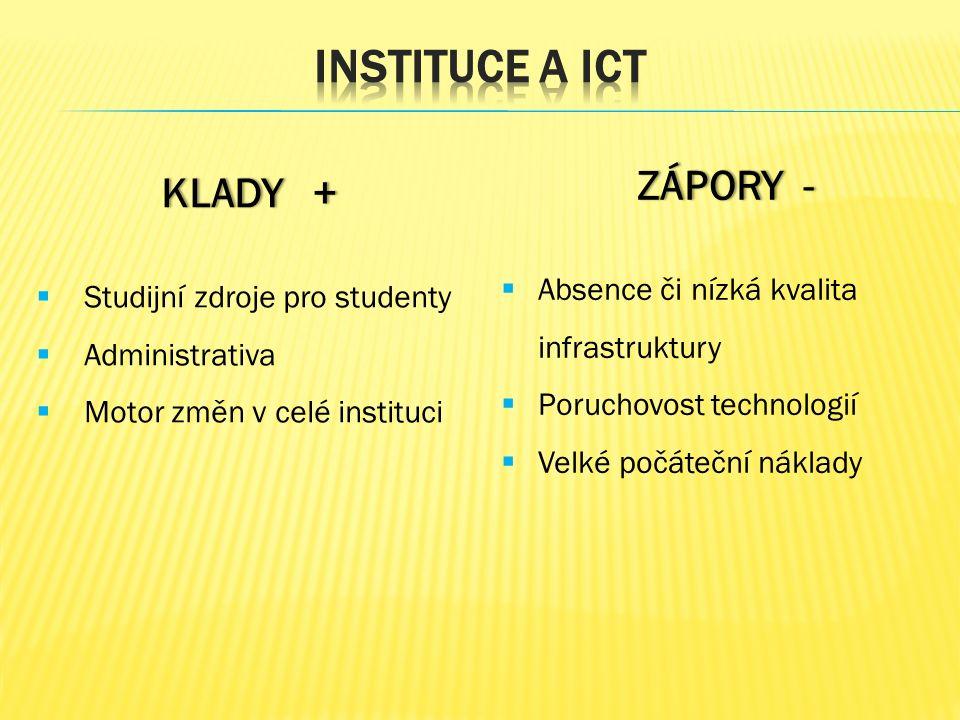 KLADY +KLADY +  Studijní zdroje pro studenty  Administrativa  Motor změn v celé instituci ZÁPORY -ZÁPORY -  Absence či nízká kvalita infrastruktury  Poruchovost technologií  Velké počáteční náklady