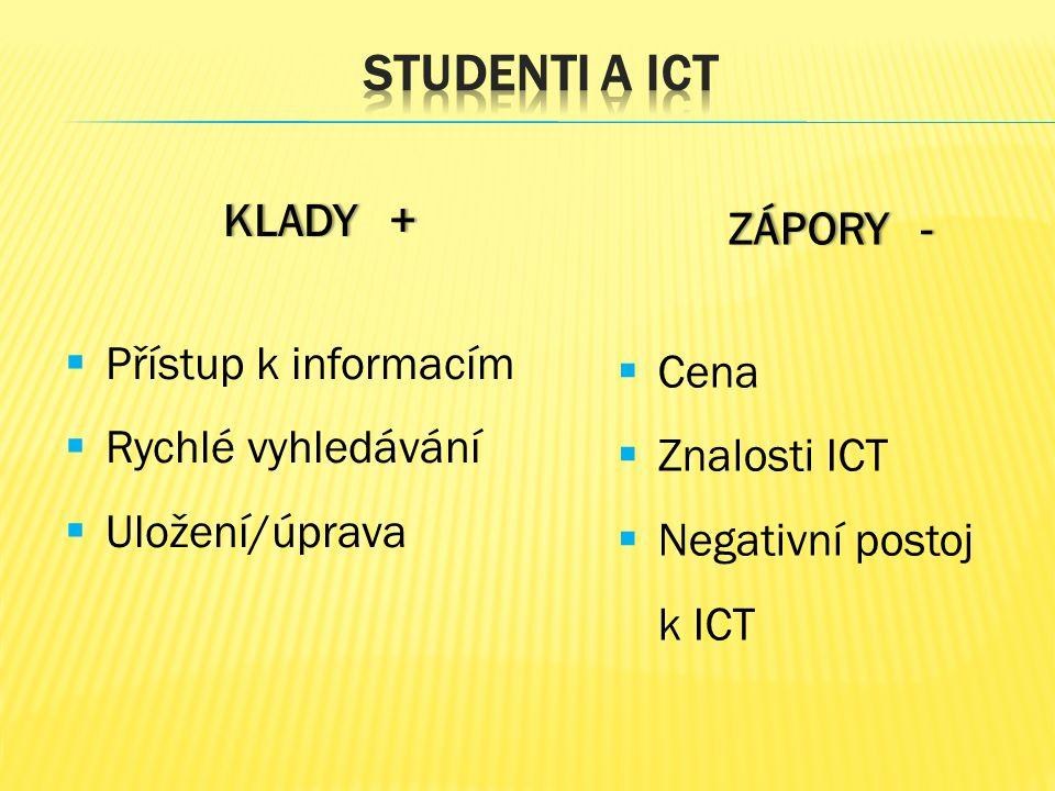 KLADY +KLADY +  Přístup k informacím  Rychlé vyhledávání  Uložení/úprava ZÁPORY -ZÁPORY -  Cena  Znalosti ICT  Negativní postoj k ICT
