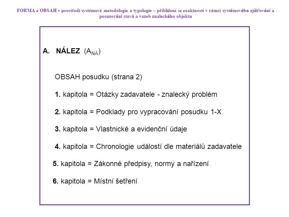 A. NÁLEZ (A NÁ ) OBSAH posudku (strana 2) 1. kapitola = Otázky zadavatele - znalecký problém 2.