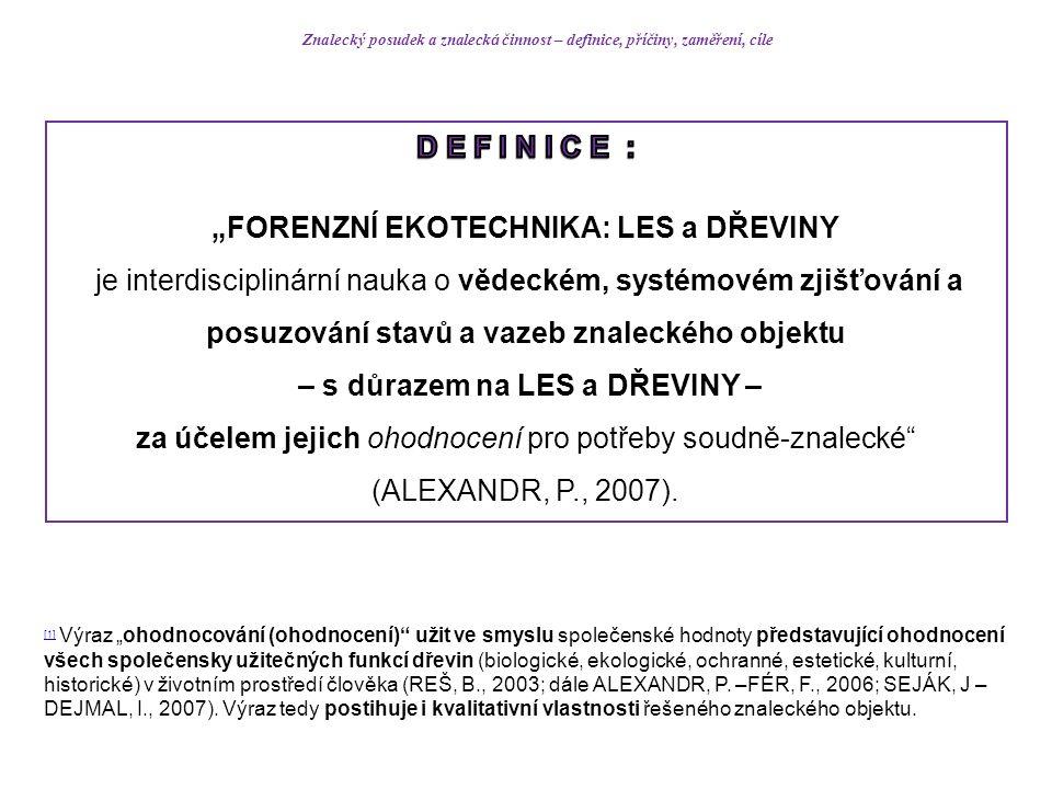 """Znalecký posudek a znaleck á činnost – definice, příčiny, zaměření, cíle [1] [1] Výraz """"ohodnocování (ohodnocení) užit ve smyslu společenské hodnoty představující ohodnocení všech společensky užitečných funkcí dřevin (biologické, ekologické, ochranné, estetické, kulturní, historické) v životním prostředí člověka (REŠ, B., 2003; dále ALEXANDR, P."""
