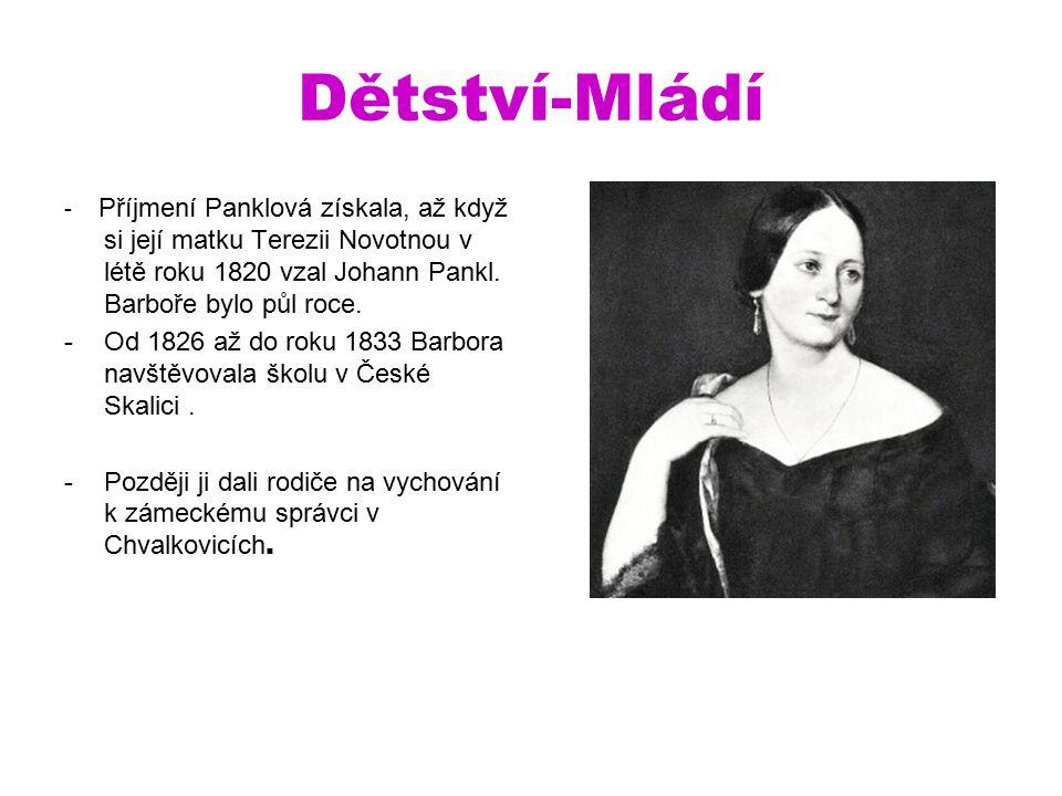 Dětství-Mládí - Příjmení Panklová získala, až když si její matku Terezii Novotnou v létě roku 1820 vzal Johann Pankl.