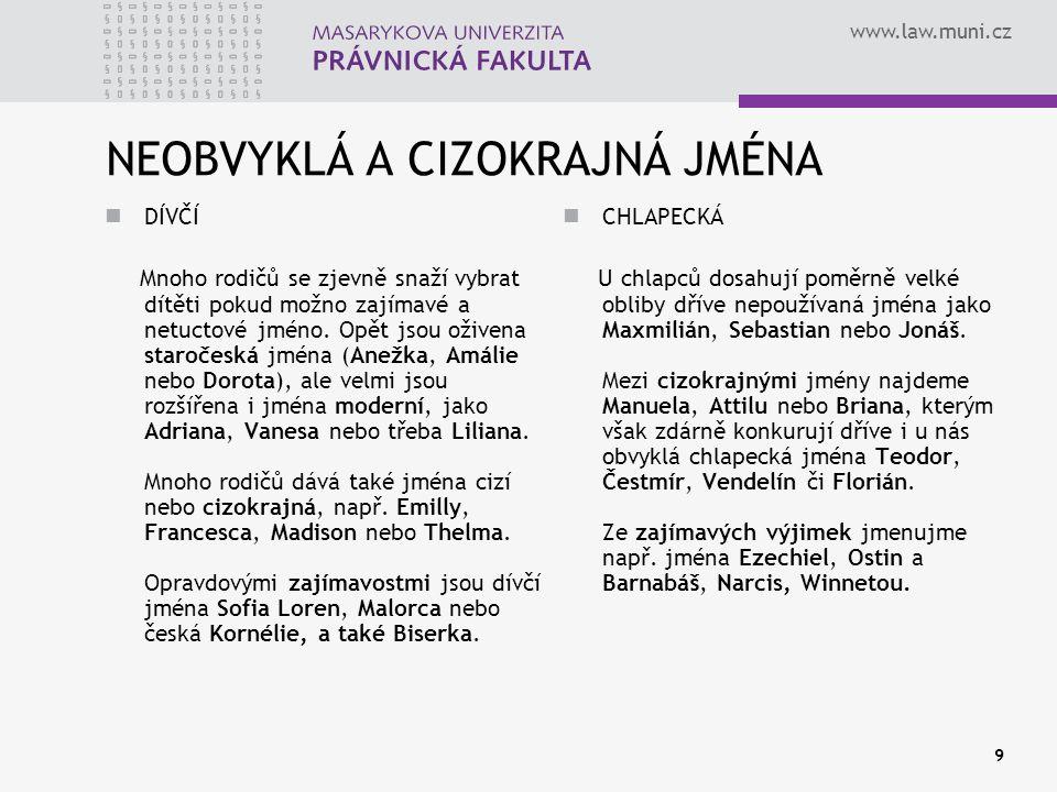 www.law.muni.cz 9 NEOBVYKLÁ A CIZOKRAJNÁ JMÉNA DÍVČÍ Mnoho rodičů se zjevně snaží vybrat dítěti pokud možno zajímavé a netuctové jméno. Opět jsou oživ