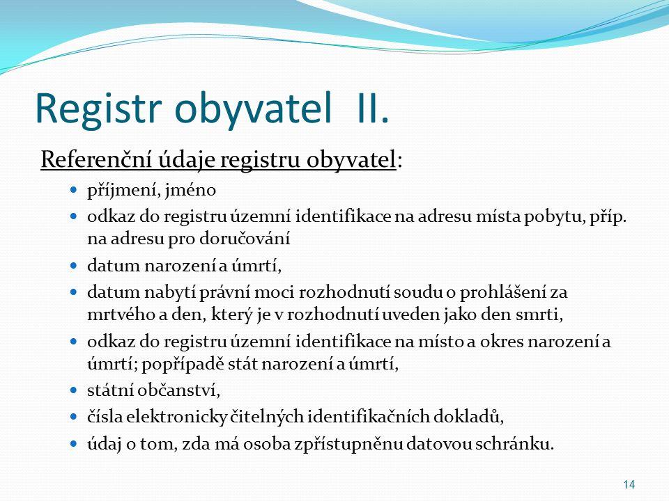 Registr obyvatel II.