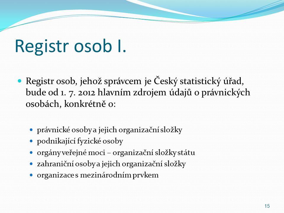 Registr osob I. Registr osob, jehož správcem je Český statistický úřad, bude od 1.
