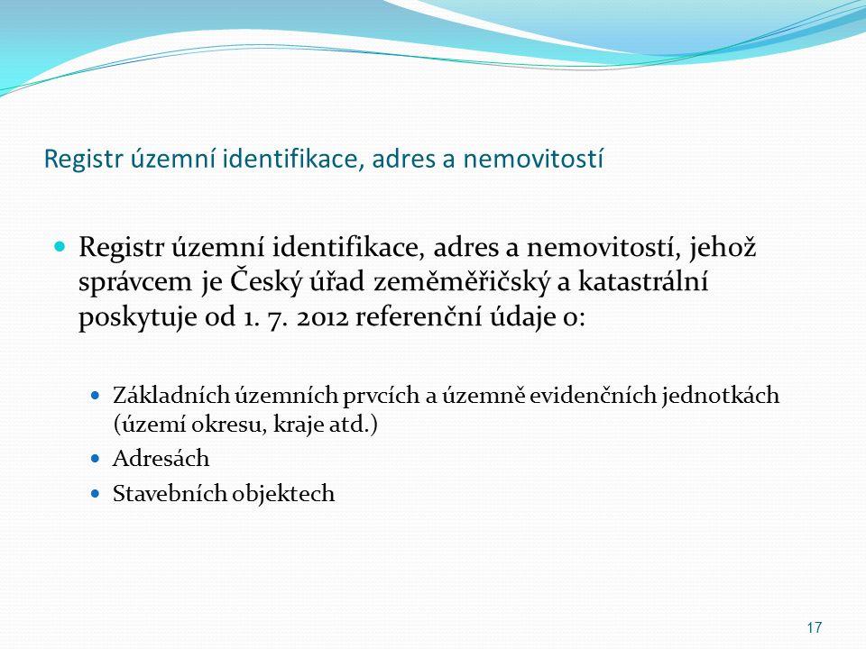 Registr územní identifikace, adres a nemovitostí Registr územní identifikace, adres a nemovitostí, jehož správcem je Český úřad zeměměřičský a katastrální poskytuje od 1.