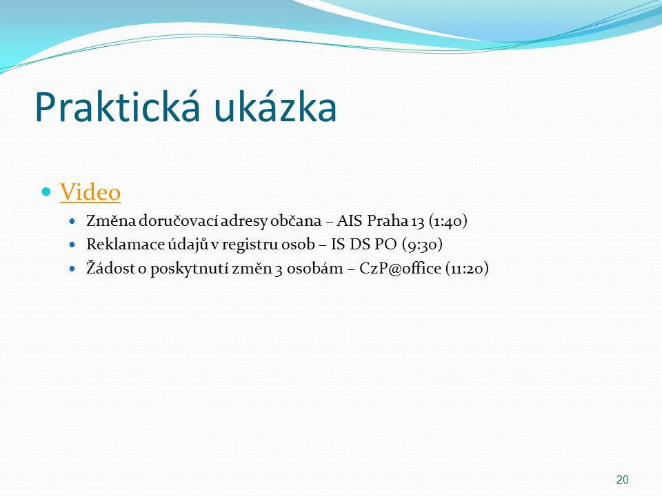 Praktická ukázka Video Změna doručovací adresy občana – AIS Praha 13 (1:40) Reklamace údajů v registru osob – IS DS PO (9:30) Žádost o poskytnutí změn 3 osobám – CzP@office (11:20) 20