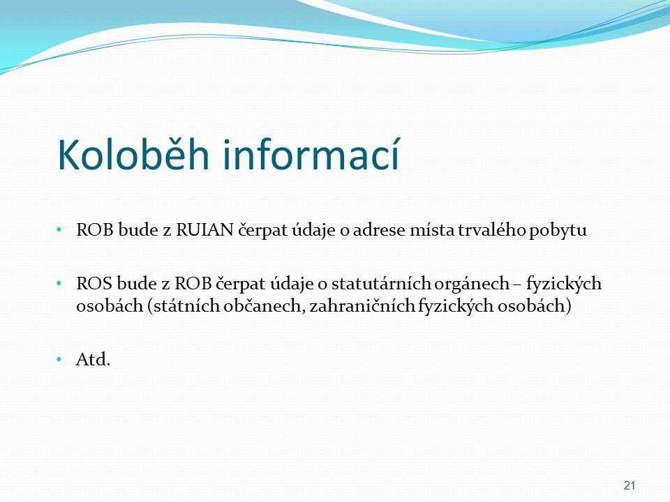 Koloběh informací ROB bude z RUIAN čerpat údaje o adrese místa trvalého pobytu ROS bude z ROB čerpat údaje o statutárních orgánech – fyzických osobách (státních občanech, zahraničních fyzických osobách) Atd.