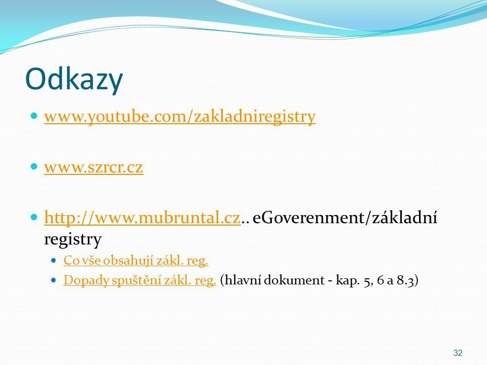 Odkazy www.youtube.com/zakladniregistry www.szrcr.cz http://www.mubruntal.cz..