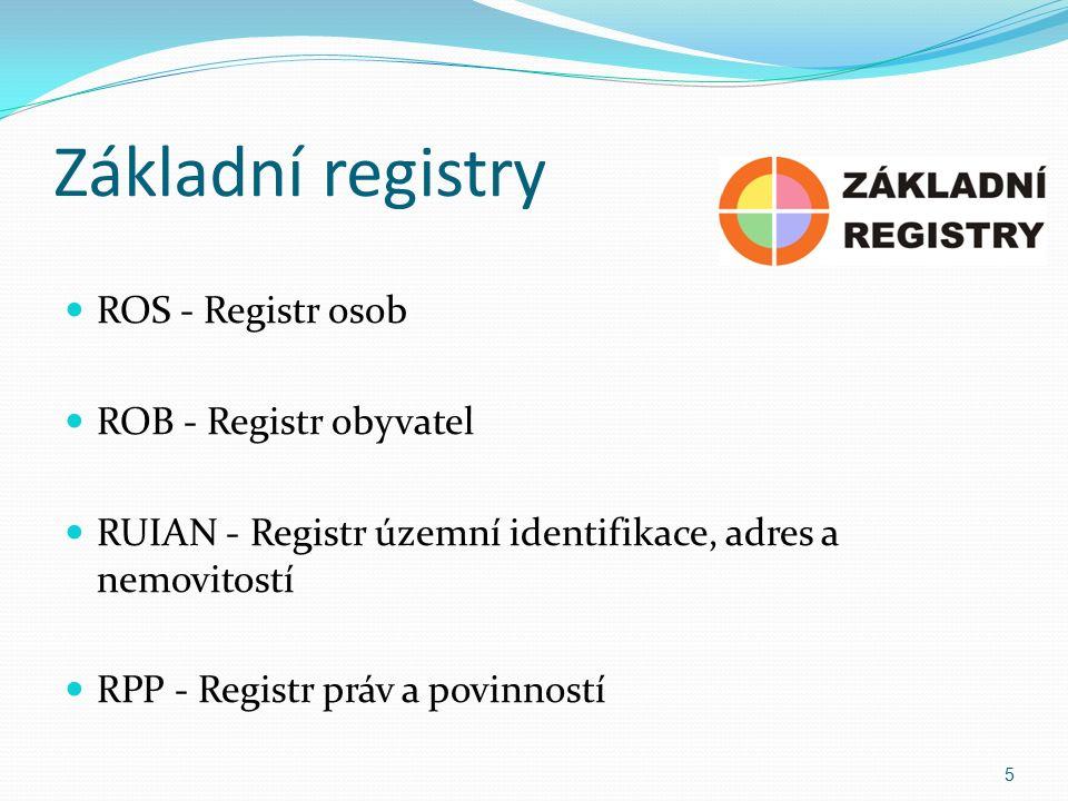Základní registry ROS - Registr osob ROB - Registr obyvatel RUIAN - Registr územní identifikace, adres a nemovitostí RPP - Registr práv a povinností 5