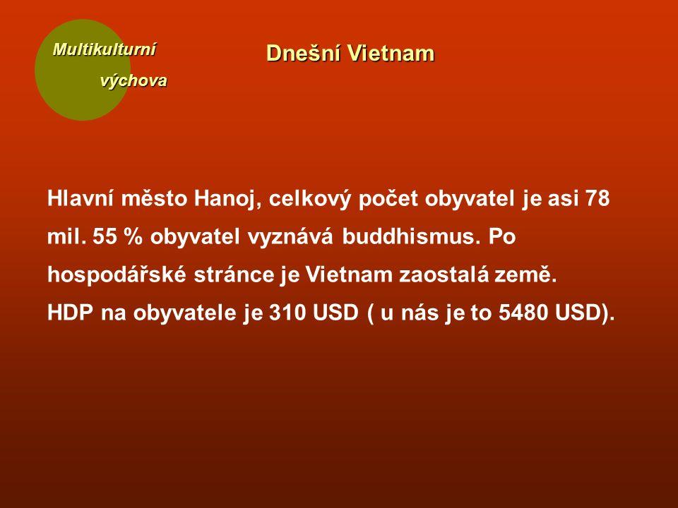 Multikulturní výchova výchova Dnešní Vietnam Hlavní město Hanoj, celkový počet obyvatel je asi 78 mil. 55 % obyvatel vyznává buddhismus. Po hospodářsk
