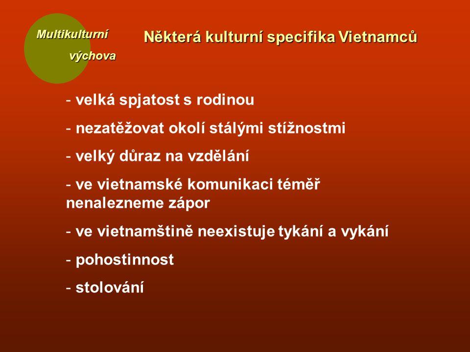 Multikulturní výchova výchova Některá kulturní specifika Vietnamců - velká spjatost s rodinou - nezatěžovat okolí stálými stížnostmi - velký důraz na vzdělání - ve vietnamské komunikaci téměř nenalezneme zápor - ve vietnamštině neexistuje tykání a vykání - pohostinnost - stolování