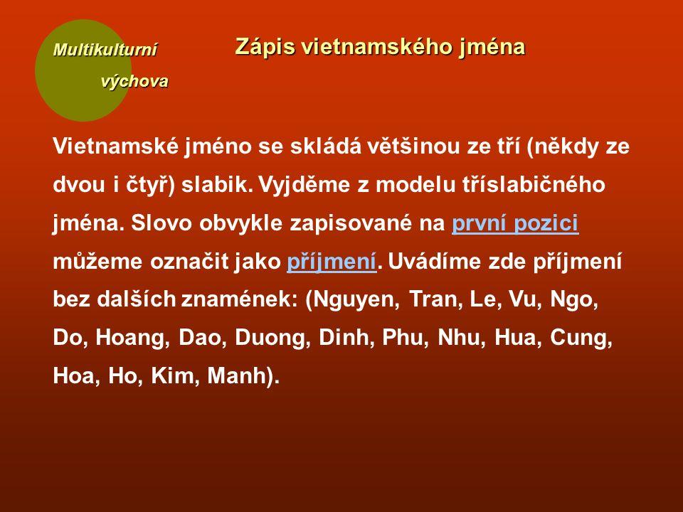 Multikulturní výchova výchova Zápis vietnamského jména Vietnamské jméno se skládá většinou ze tří (někdy ze dvou i čtyř) slabik. Vyjděme z modelu třís