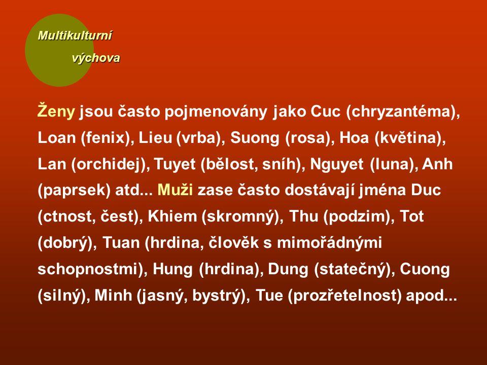 Multikulturní výchova výchova Ženy jsou často pojmenovány jako Cuc (chryzantéma), Loan (fenix), Lieu (vrba), Suong (rosa), Hoa (květina), Lan (orchidej), Tuyet (bělost, sníh), Nguyet (luna), Anh (paprsek) atd...