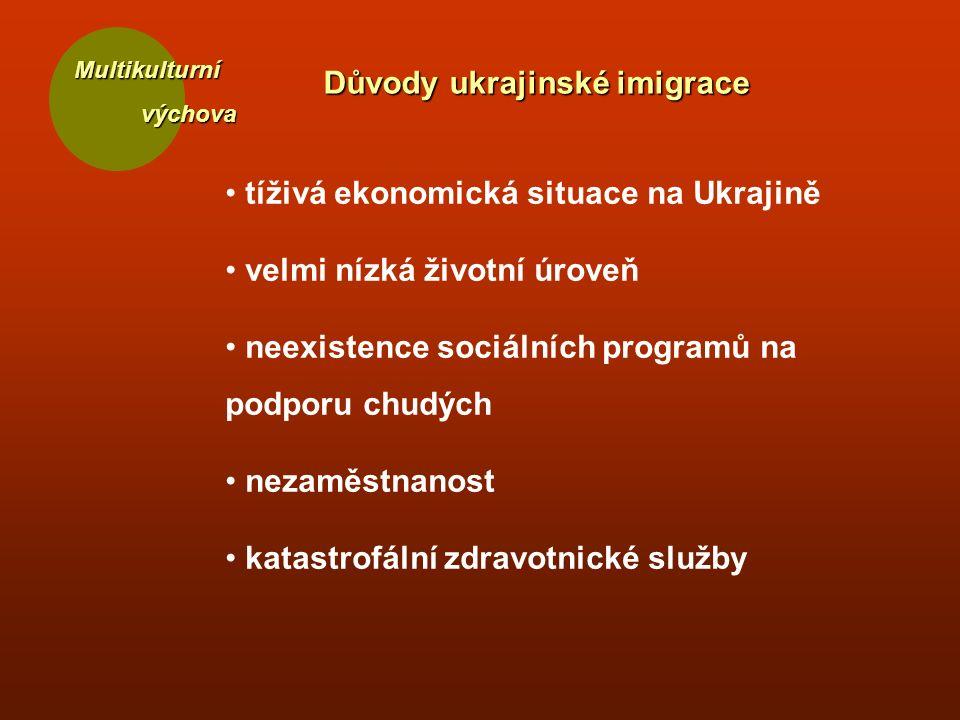 Multikulturní výchova výchova Důvody ukrajinské imigrace tíživá ekonomická situace na Ukrajině velmi nízká životní úroveň neexistence sociálních programů na podporu chudých nezaměstnanost katastrofální zdravotnické služby
