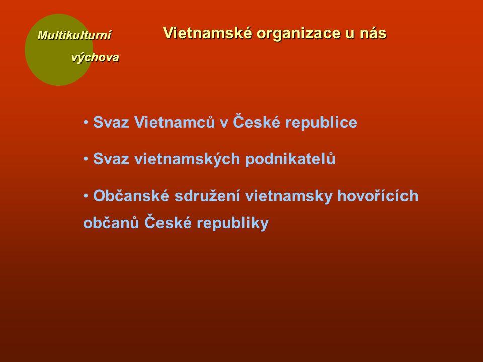 Multikulturní výchova výchova Vietnamské organizace u nás Svaz Vietnamců v České republice Svaz vietnamských podnikatelů Občanské sdružení vietnamsky hovořících občanů České republiky