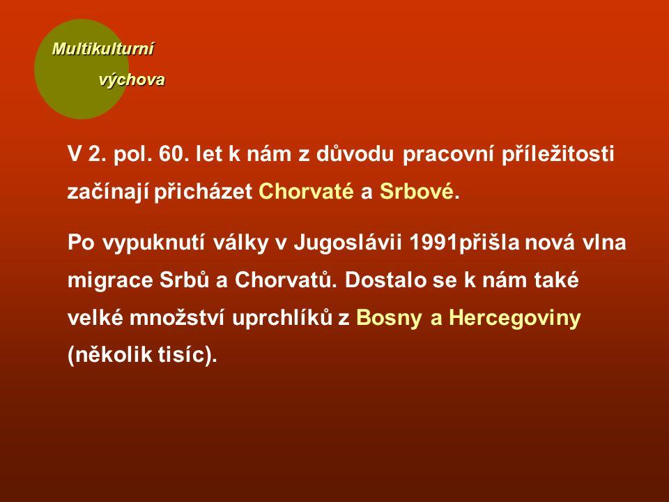 Multikulturní výchova výchova V 2. pol. 60. let k nám z důvodu pracovní příležitosti začínají přicházet Chorvaté a Srbové. Po vypuknutí války v Jugosl