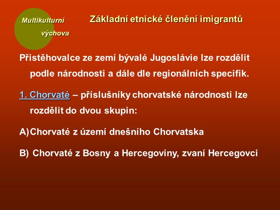 Multikulturní výchova výchova Základní etnické členění imigrantů Přistěhovalce ze zemí bývalé Jugoslávie lze rozdělit podle národnosti a dále dle regi