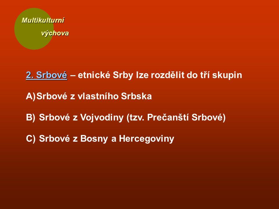 Multikulturní výchova výchova 2. Srbové 2. Srbové – etnické Srby lze rozdělit do tří skupin A)Srbové z vlastního Srbska B) Srbové z Vojvodiny (tzv. Pr