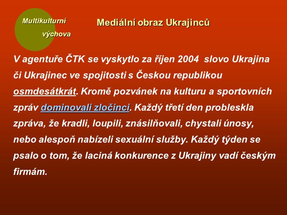 Multikulturní výchova výchova dominovali zločinci V agentuře ČTK se vyskytlo za říjen 2004 slovo Ukrajina či Ukrajinec ve spojitosti s Českou republikou osmdesátkrát.
