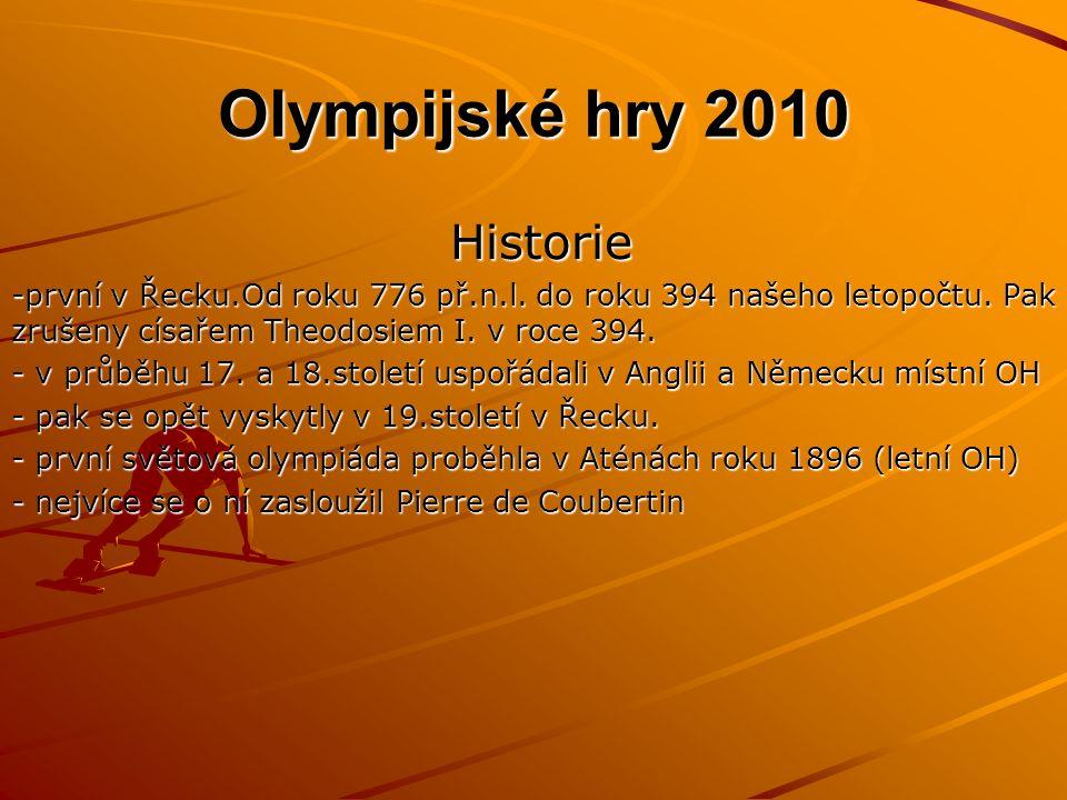 Olympijské hry 2010 Olympijské hry 2010 Historie Historie -první v Řecku.Od roku 776 př.n.l.