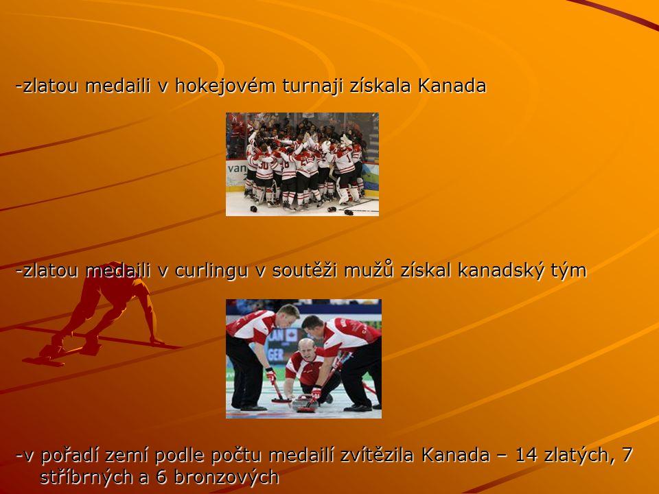 -zlatou medaili v hokejovém turnaji získala Kanada -zlatou medaili v curlingu v soutěži mužů získal kanadský tým -v pořadí zemí podle počtu medailí zvítězila Kanada – 14 zlatých, 7 stříbrných a 6 bronzových