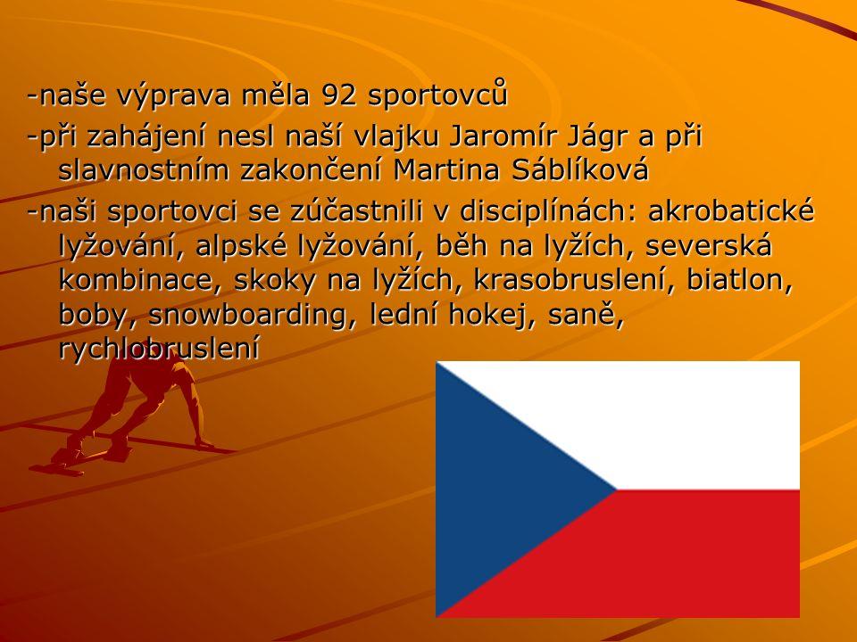 -naše výprava měla 92 sportovců -při zahájení nesl naší vlajku Jaromír Jágr a při slavnostním zakončení Martina Sáblíková -naši sportovci se zúčastnili v disciplínách: akrobatické lyžování, alpské lyžování, běh na lyžích, severská kombinace, skoky na lyžích, krasobruslení, biatlon, boby, snowboarding, lední hokej, saně, rychlobruslení