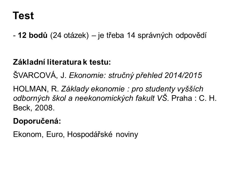 Test - 12 bodů (24 otázek) – je třeba 14 správných odpovědí Základní literatura k testu: ŠVARCOVÁ, J.