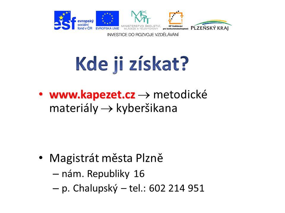 www.kapezet.cz www.kapezet.cz  metodické materiály  kyberšikana Magistrát města Plzně – nám.