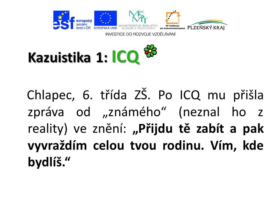 Kazuistika 1: ICQ Chlapec, 6. třída ZŠ.