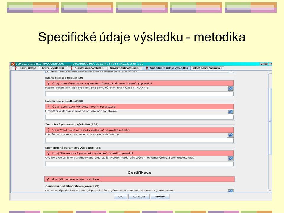 Specifické údaje výsledku - metodika