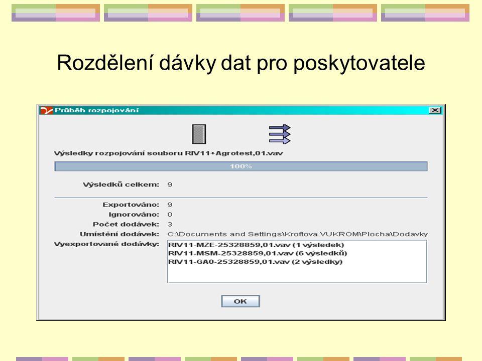 Rozdělení dávky dat pro poskytovatele