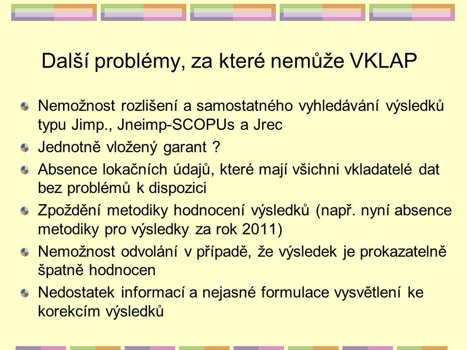 Další problémy, za které nemůže VKLAP Nemožnost rozlišení a samostatného vyhledávání výsledků typu Jimp., Jneimp-SCOPUs a Jrec Jednotně vložený garant