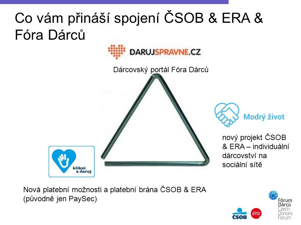 Co vám přináší spojení ČSOB & ERA & Fóra Dárců Dárcovský portál Fóra Dárců Nová platební možnosti a platební brána ČSOB & ERA (původně jen PaySec) nový projekt ČSOB & ERA – individuální dárcovství na sociální sítě