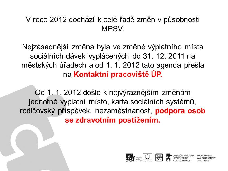 V roce 2012 dochází k celé řadě změn v působnosti MPSV.