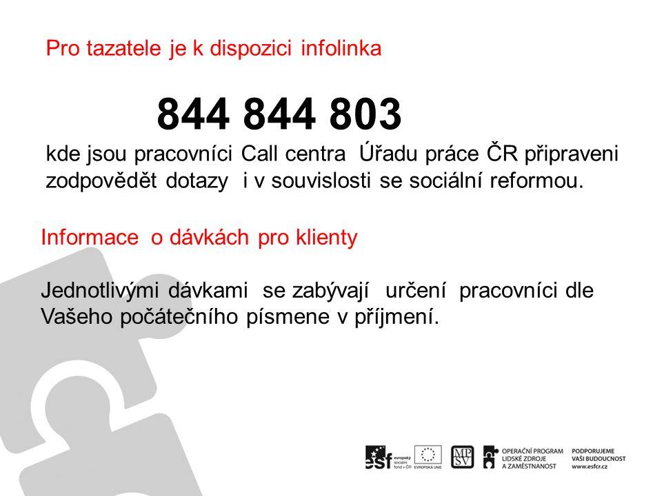 Pro tazatele je k dispozici infolinka 844 844 803 kde jsou pracovníci Call centra Úřadu práce ČR připraveni zodpovědět dotazy i v souvislosti se sociální reformou.