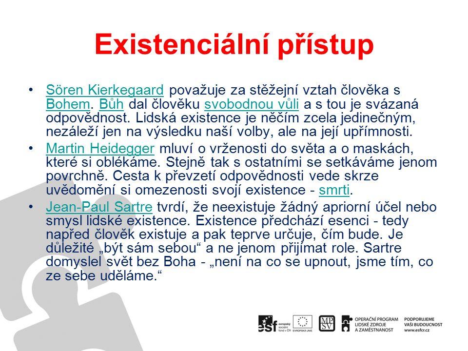 Existenciální přístup Sören Kierkegaard považuje za stěžejní vztah člověka s Bohem.