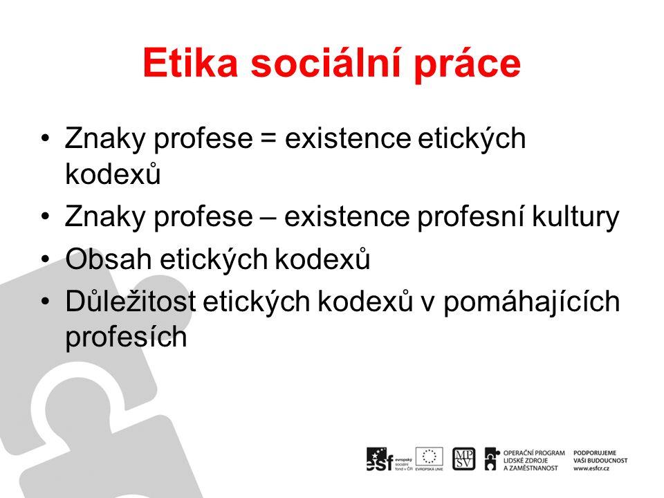 Etika sociální práce Znaky profese = existence etických kodexů Znaky profese – existence profesní kultury Obsah etických kodexů Důležitost etických kodexů v pomáhajících profesích