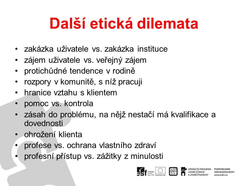 Další etická dilemata zakázka uživatele vs. zakázka instituce zájem uživatele vs.