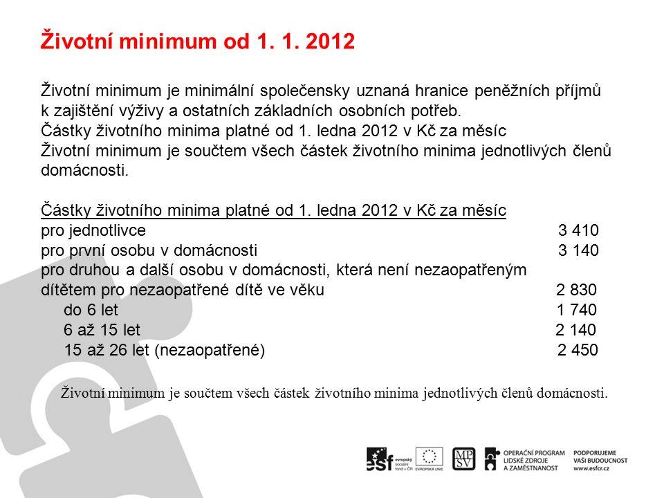 Životní minimum od 1. 1.