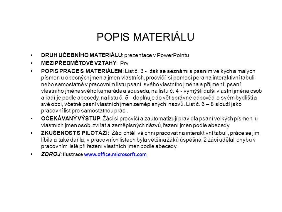 POPIS MATERIÁLU DRUH UČEBNÍHO MATERIÁLU: prezentace v PowerPointu MEZIPŘEDMĚTOVÉ VZTAHY: Prv POPIS PRÁCE S MATERIÁLEM: List č.