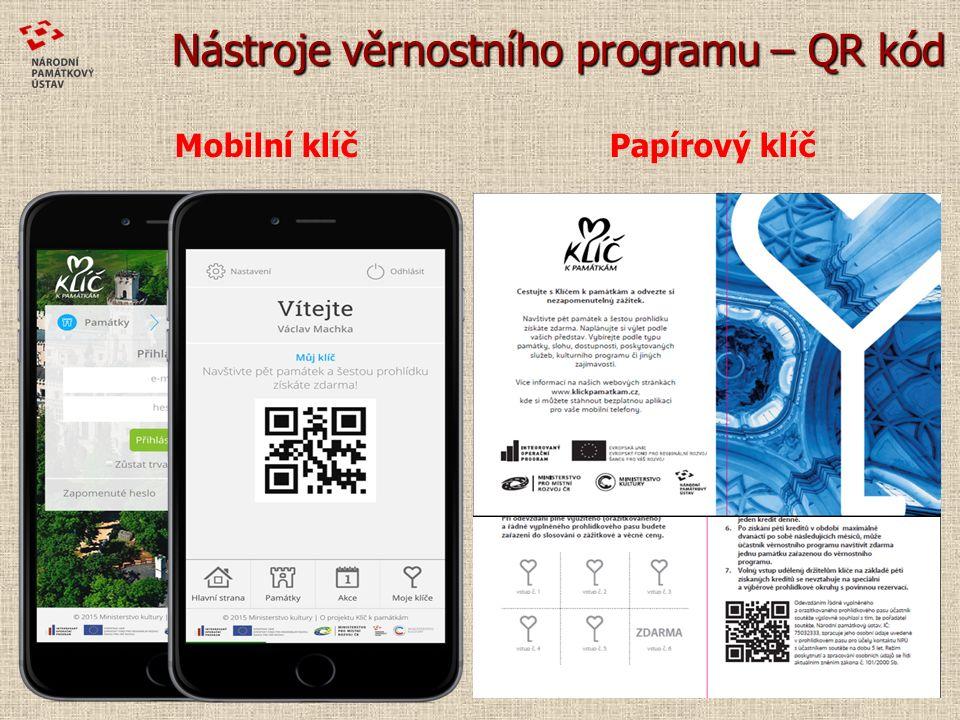 Nástroje věrnostního programu – QR kód Mobilní klíč Papírový klíč