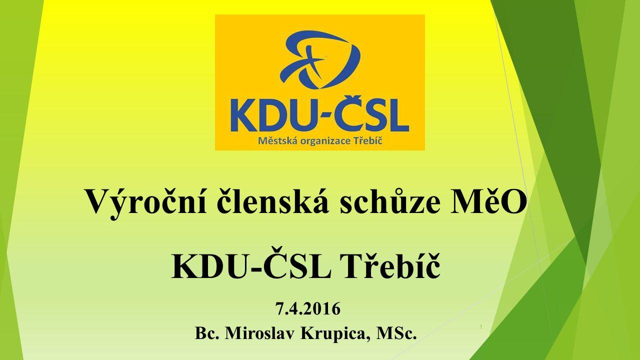 Výroční členská schůze MěO KDU-ČSL Třebíč 7.4.2016 Bc. Miroslav Krupica, MSc. 1