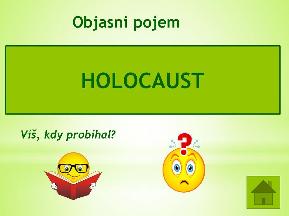 Objasni pojem = hromadné, státem (nacistickým Německem) organizované, vyhlazování Židů, Romů, Slovanů, politických odpůrců, tělesně i mentálně postiže
