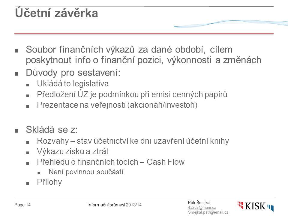 Informační průmysl 2013/14Page 14 Petr Šmejkal, 43262@muni.cz 43262@muni.cz Smejkal.petr@email.cz Účetní závěrka ■ Soubor finančních výkazů za dané ob