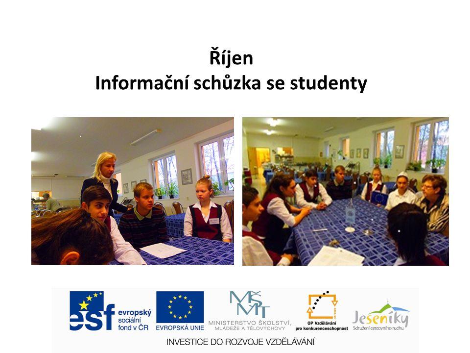 Říjen Informační schůzka se studenty